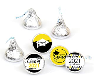 product image for Big Dot of Happiness Yellow Grad - Best is Yet to Come - Yellow 2021 Graduation Party Round Candy Sticker Favors - Labels Fit Hershey's Kisses (1 Sheet of 108)