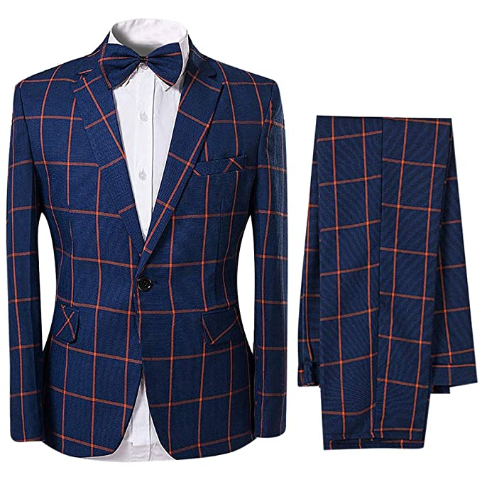 new collection exceptional range of styles and colors sale Men's Classic Fit 2-Piece Plaid Suit One Button Wedding Suit ...