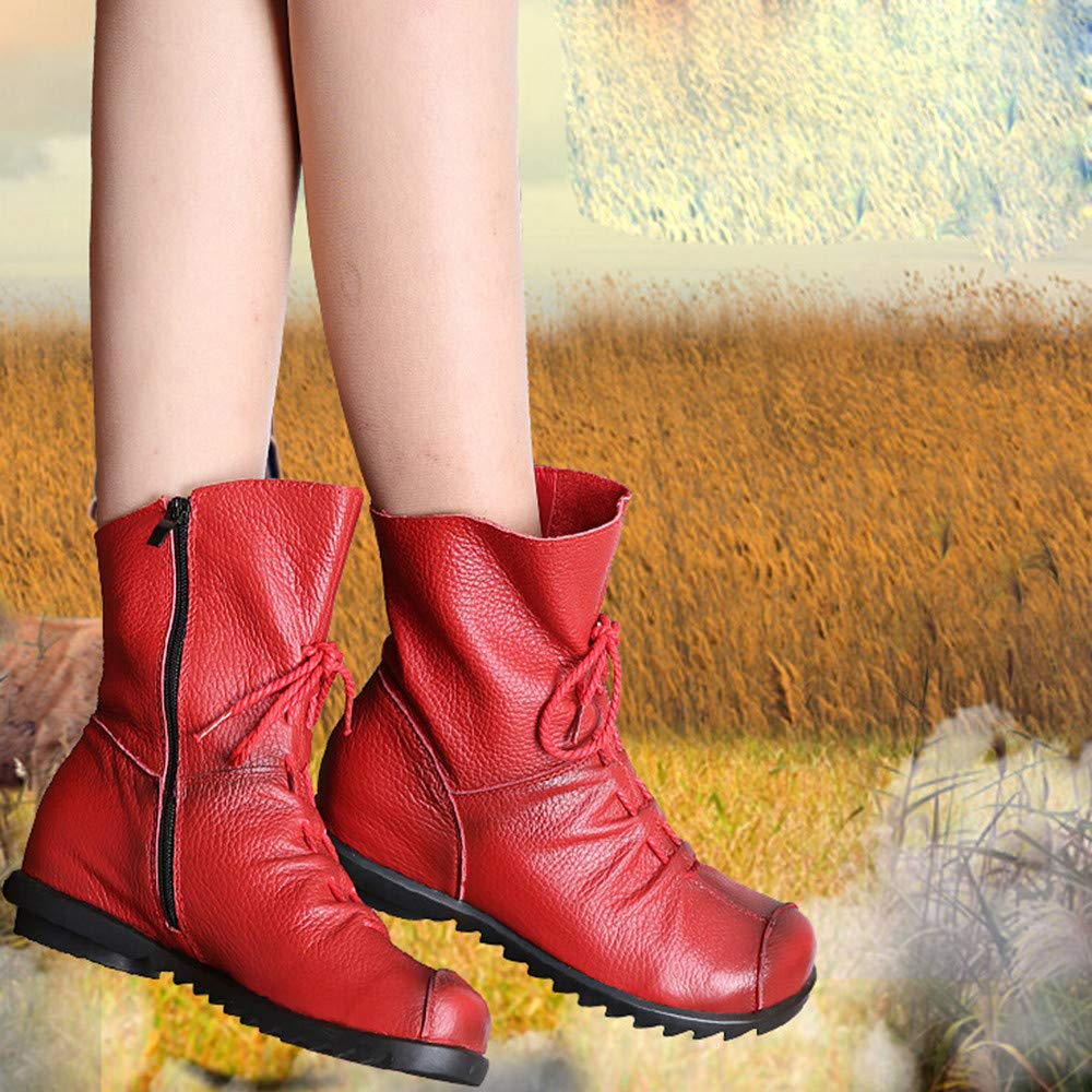 Womens Retro Leather Boots NDGDA Warm Low Heel Shoes