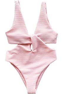 3f85937bd1 CUPSHE Women's Solid Pink High Waisted One-Piece Swimsuit Shine for U  Swimwear