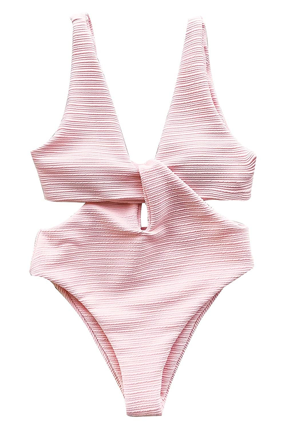 033a495781 CUPSHE Women's Solid Pink High Waisted One-Piece Swimsuit Shine for U  Swimwear at Amazon Women's Clothing store: