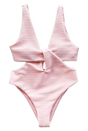 6a48f4425e CUPSHE Women s Solid Pink High Waisted One-Piece Swimsuit Shine for U  Swimwear at Amazon Women s Clothing store