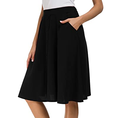 Afibi Womens High Waisted A Line Pleated Midi Skirt Button Front Skirts with Pocket at Women's Clothing store