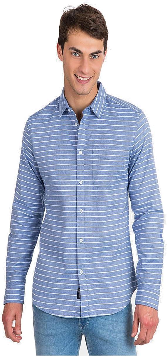 Nepal, Camisa Manga Larga, Rayas EN Horizontal (S, Azul ...