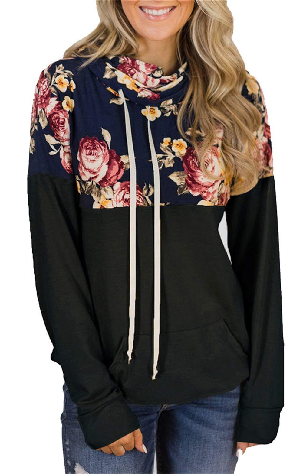 onlypuff Black Pullover Sweatshirt Cowl Neck Sweatshirts Long Sleeve Tunic Tops Color Block XXL
