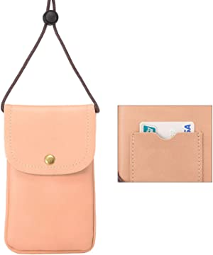 Cell Phone Neck Pouch, Techcircle PU Leather Carrying Bag with Credit Card Holder Adjustable Strap, Small Travel Purse for iPhone 11 XR XS Max SE 8 7 6 Plus, Galaxy S10 S7 Edge A10 J7, Moto G6 (Pink)
