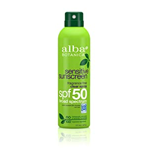 Alba Botanica Fragrance Free Clear Spray Sensitive SPF 50 Sunscreen, 6 oz.