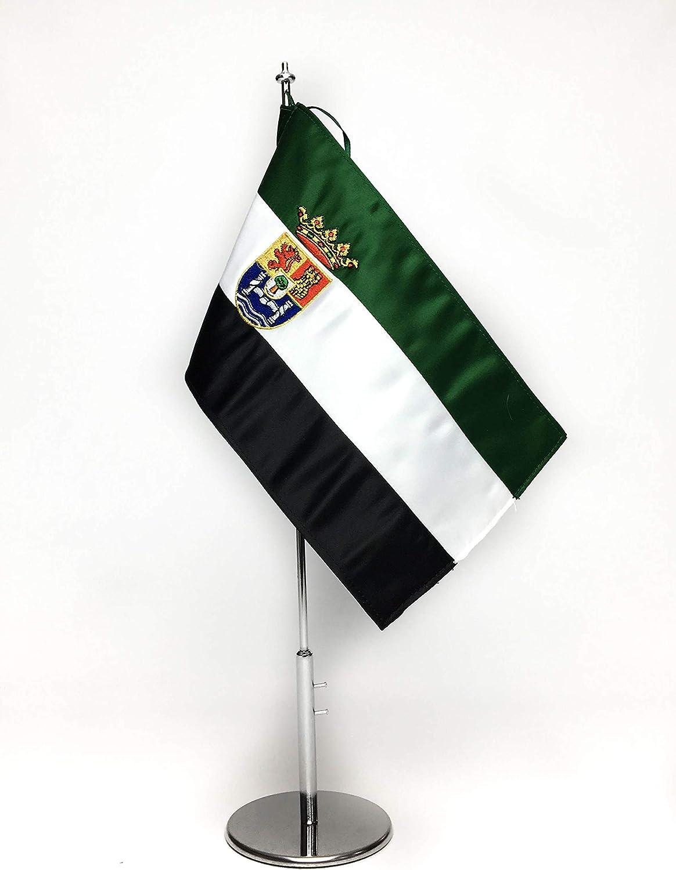 ABBE Global Bandera de Mesa Bordada de Extremadura 15x25 y mástil ...