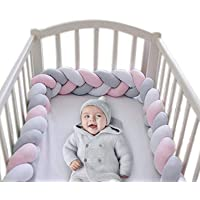 Wonder Space Soft Knot Plush Pillow - 2 Meters Baby Crib Bumper, Fashion Nursery Cradle Decor For Baby Toddler and Childern (Pink/Grey/White, 2 Meters)