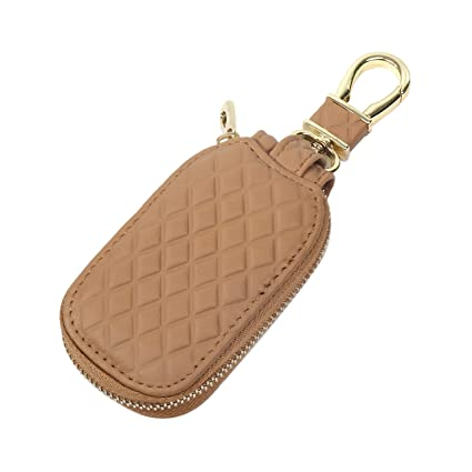Car FOB Key Wallet Holder - (Tan) Diamond pattern with internal key chain,  metal clasp and zipper  Protection and storage for pills, vape pods and