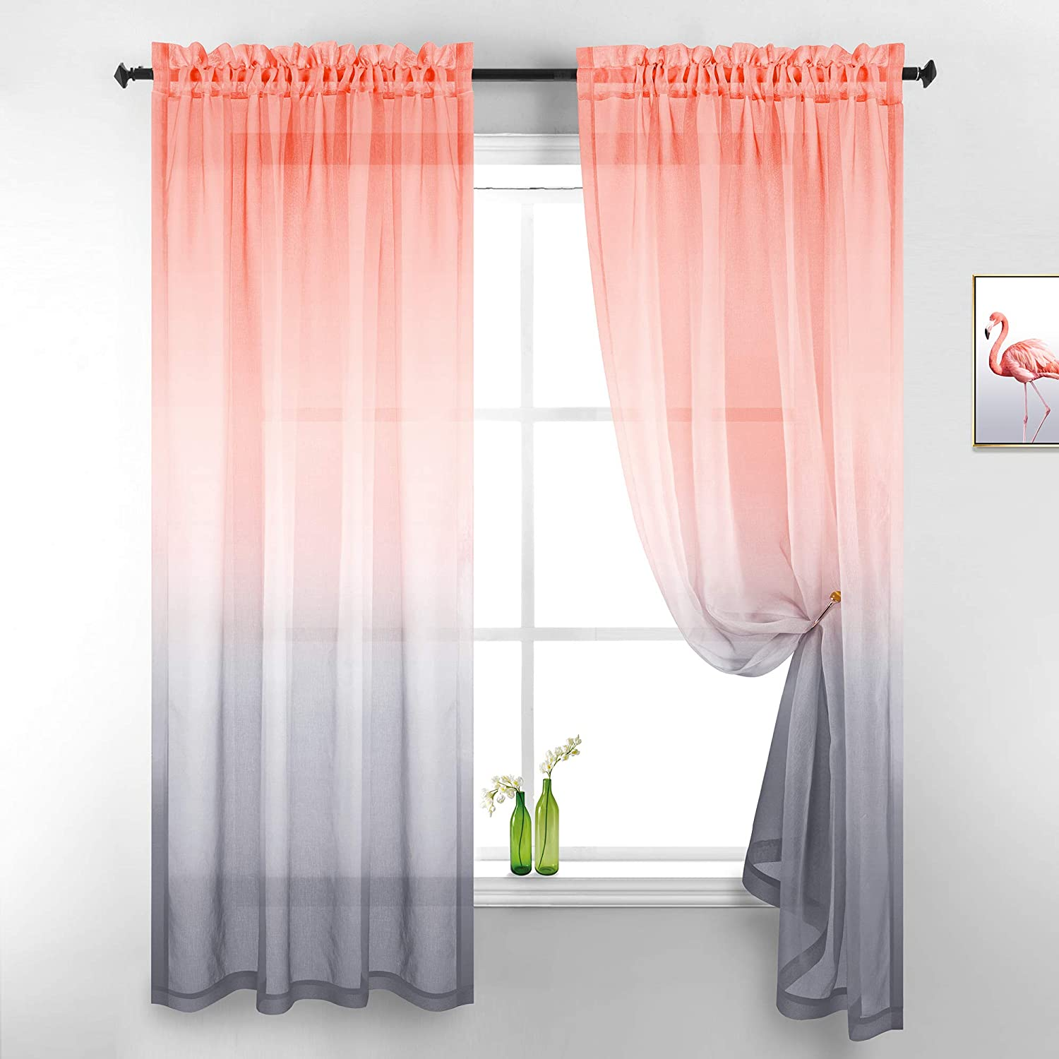 Gray and Coral Curtains 84 Inches Long for Living Room Set of 2 Panels Rod Pocket Window Semi Voile Drapes Ombre Sheer Curtains for Bedroom Girls Room Decor 52x84 Inch Length Salmon and Grey