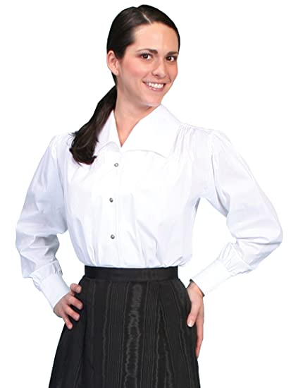 Victorian Blouses, Tops, Shirts, Vests Medium White Wide Lapel Blouse  AT vintagedancer.com