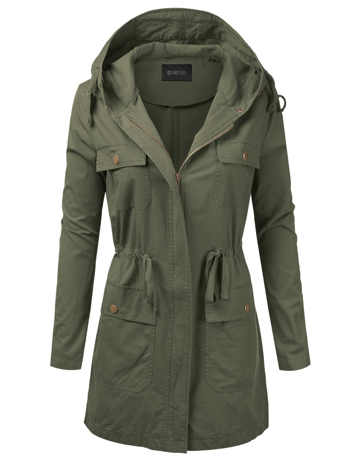 DRESSIS Women's Woven Hooded Cotton Utility Jacket with Drawstring Waist Olive 3XL