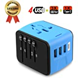 Travel Adapter, JMFONE Universal Travel Adapter 3.4A Type C 4 USB International World Power Plug Adapter Kit Travel Wall Charger USB Plug with UK, EU, AU, US for 200 countries (blue)