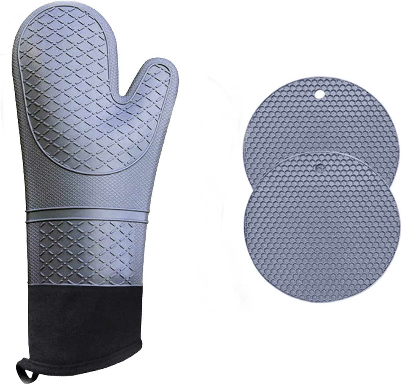 Air Fryer Toaster Oven Accessories,Oven Mitts and Pot Holders, 4-Piece Set,Non-Slip Textured Grip,Grey