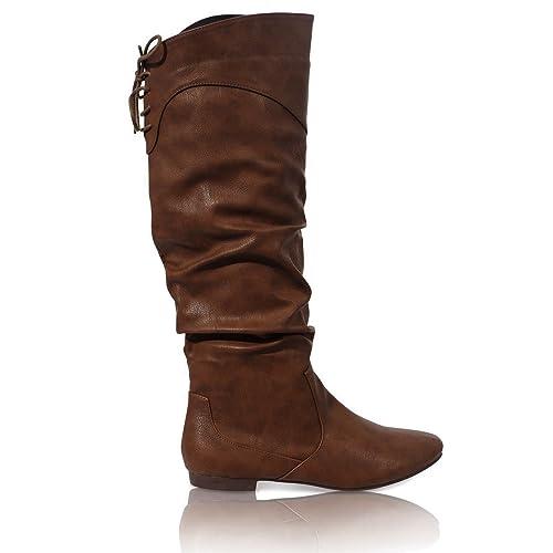 equitazione tacco Stivali al da polpaccio donna fino zip da piatto gHT5w