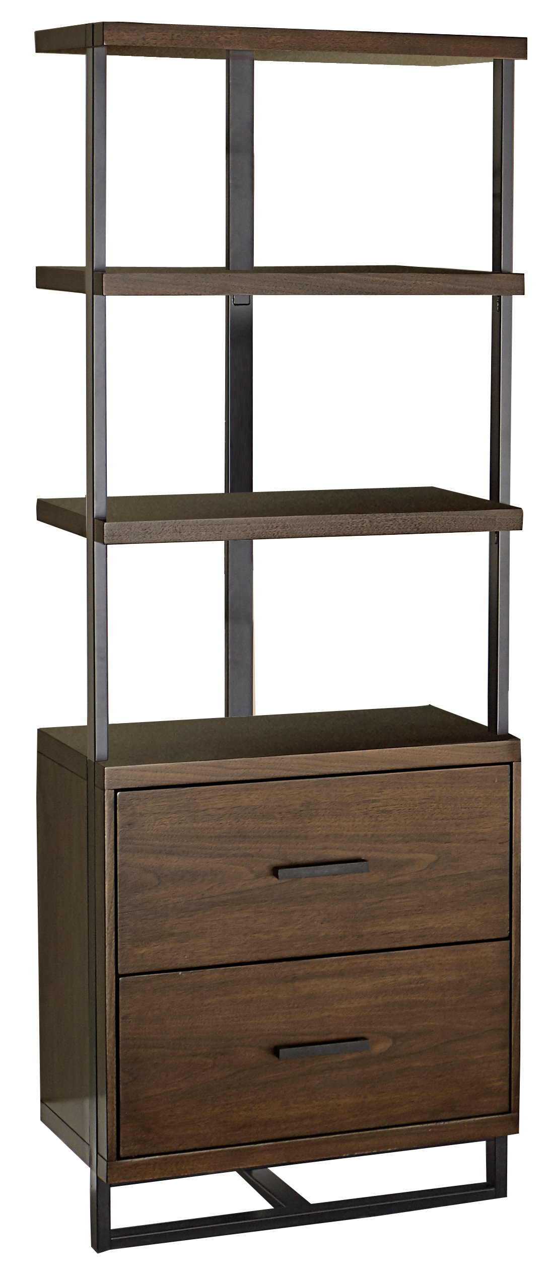 Homelegance Lexicon District 69'' Shelf with Metal Frame, Brown Walnut
