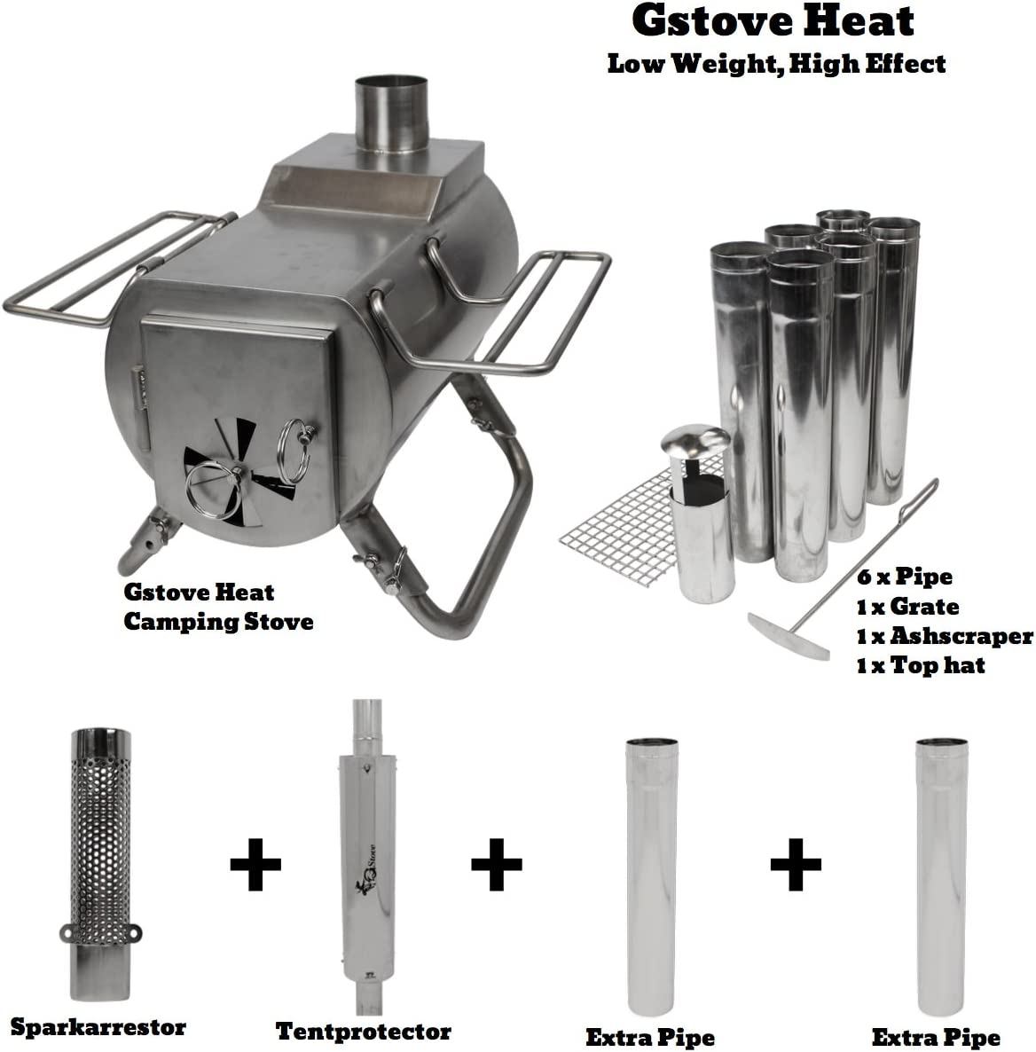 This is an image of a tent stove set showing one unit of stove, and various accessories.