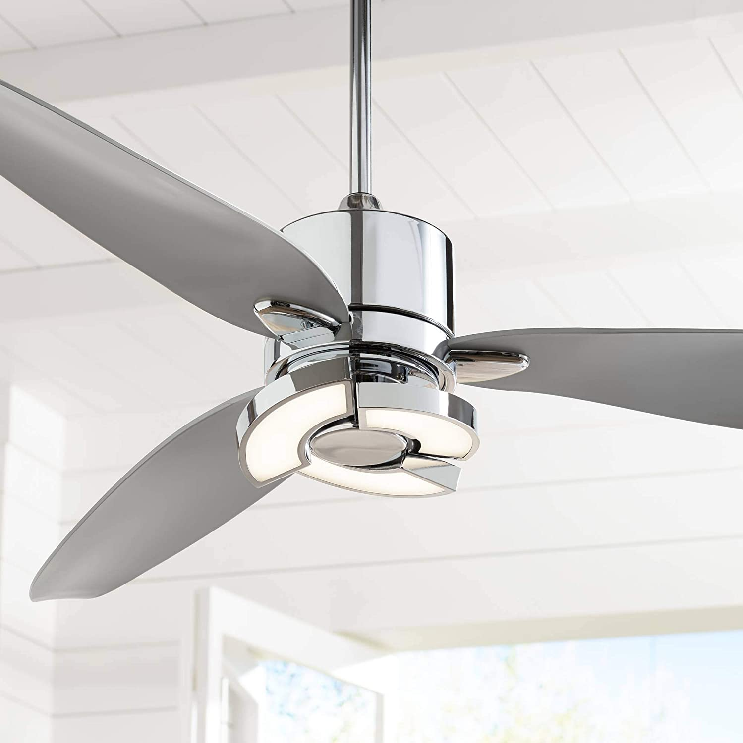 56 Vengeance Modern Ceiling Fan With Light Led Remote Control Chrome Curved Blades For Living Room Kitchen Bedroom Possini Euro Design Amazon Com