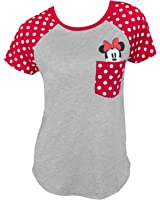 Disney Junior Fashion Contrast Shoulder Top Minnie Pocket, Gray With Red