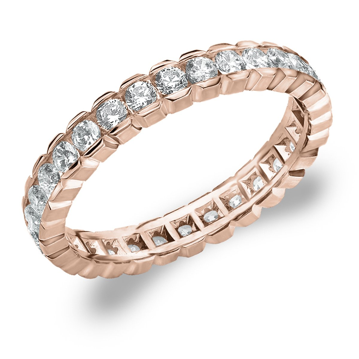 Eternity Wedding Bands 1.0 CTTW Diamond Eternity Ring, 1ct Wedding Anniversary Ring in 10K Rose Gold - Finger Size 7.25 by Eternity Wedding Bands