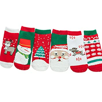 Zoylink 6 Pares Calcetines De Navidad para Niños Calcetines De Invierno Calcetines De Algodón De Dibujos Animados para Bebés Pequeños (Estilo Aleatorio): ...