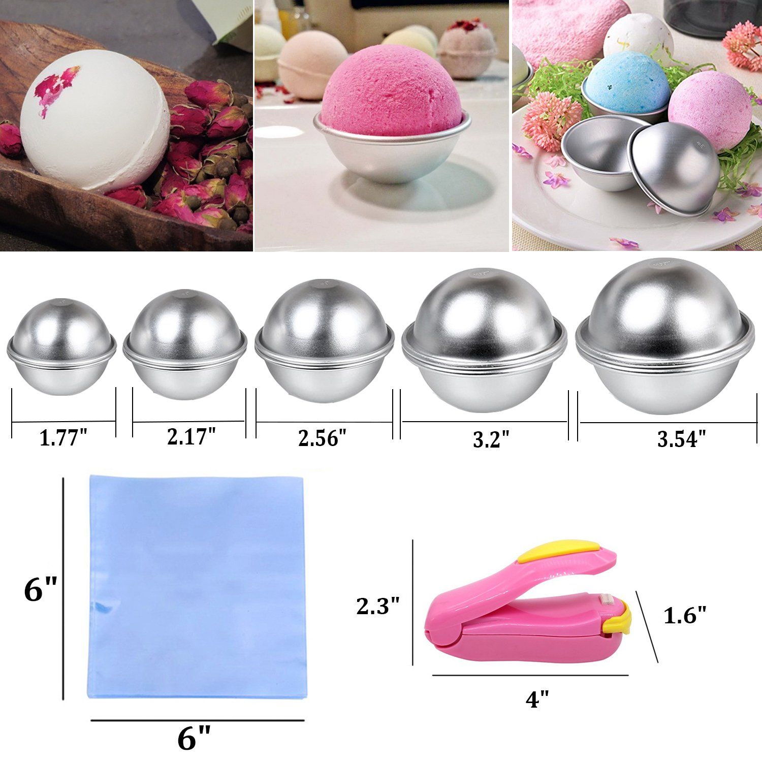 Bath Bomb Mold, Outgeek 217Pcs DIY Bath Bomb Kit Include Metal Bath Bomb Mold 8 Set 16 Pieces 5 Size, 200 Shrink Wrap Bags, Mini Heat Sealer for Bath Bombs Making & Soaps by Outgeek (Image #2)