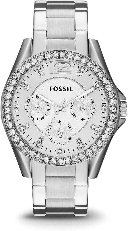 Fossil Womens Riley Stainless Steel Multifunction Glitz Quartz Watch