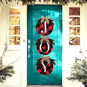 Medoore Joy Christmas Sign Decorations - Joy Sign Buffalo Plaid Christmas Wreath for Front Door - 14Inch Large Rustic Wooden Xmas Wreath for Indoor, Home, Window, Wall, Farmhouse,Party Decor