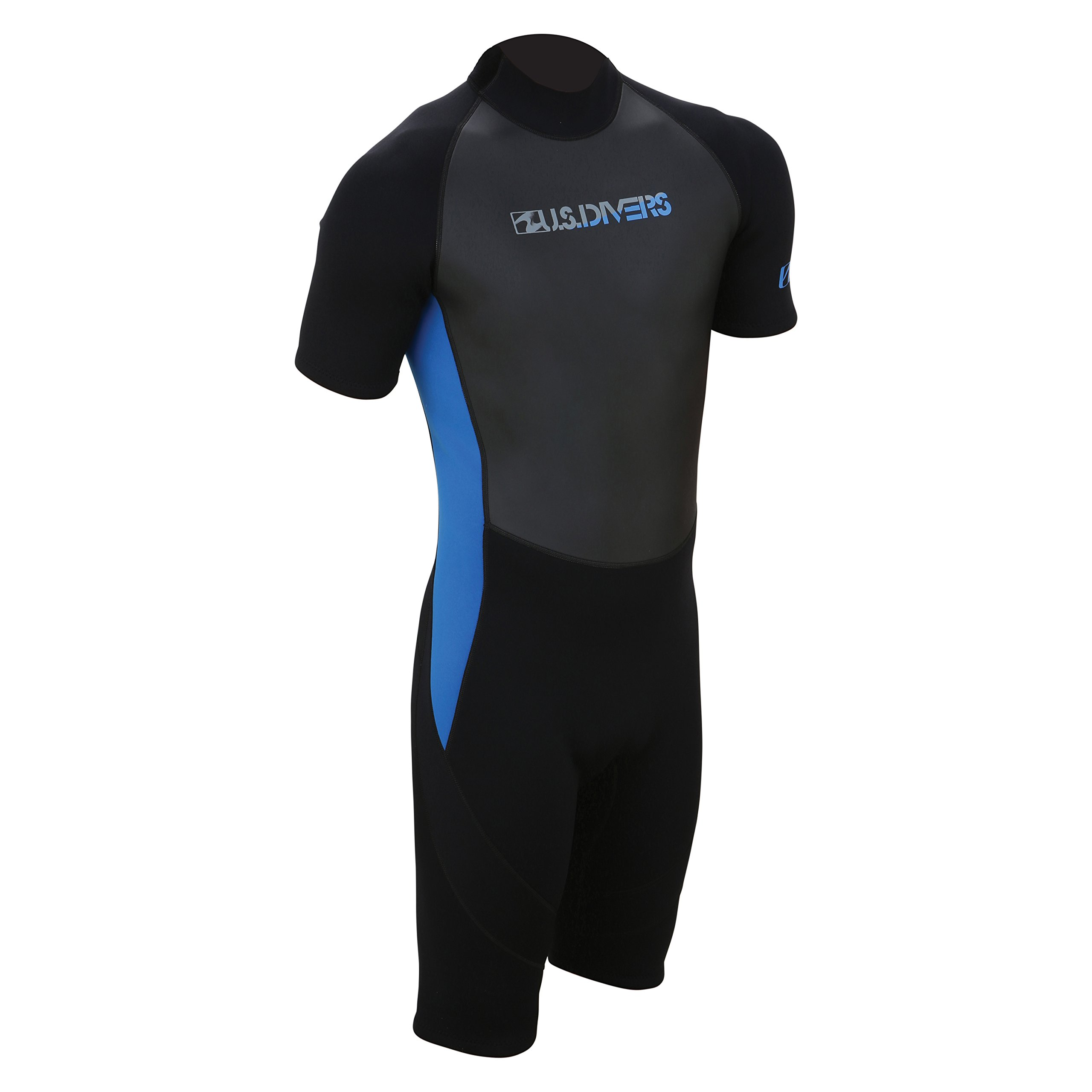 U.S. Divers Adult 2015 Shorty Wetsuit, Black/Blue, Small