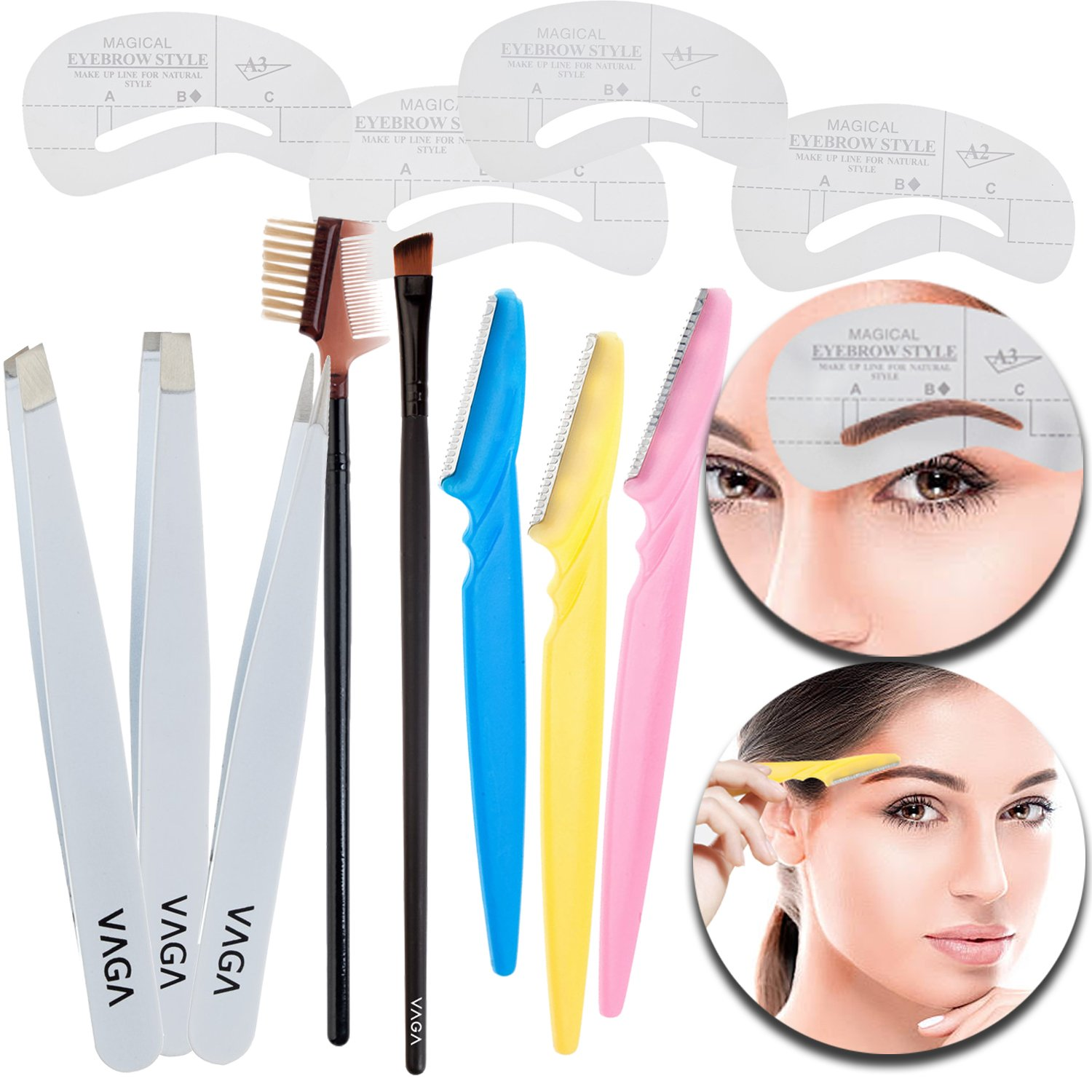 Beauty Make Up Skin Care Tools Set of Eyebrows Razors Shaving Tools Groomers, Precision Tweezers for Hair Removal Plucking, Eyes Brows Stencils Templates Drawing Cards, Brush and Comb for Grooming VAGASHOP