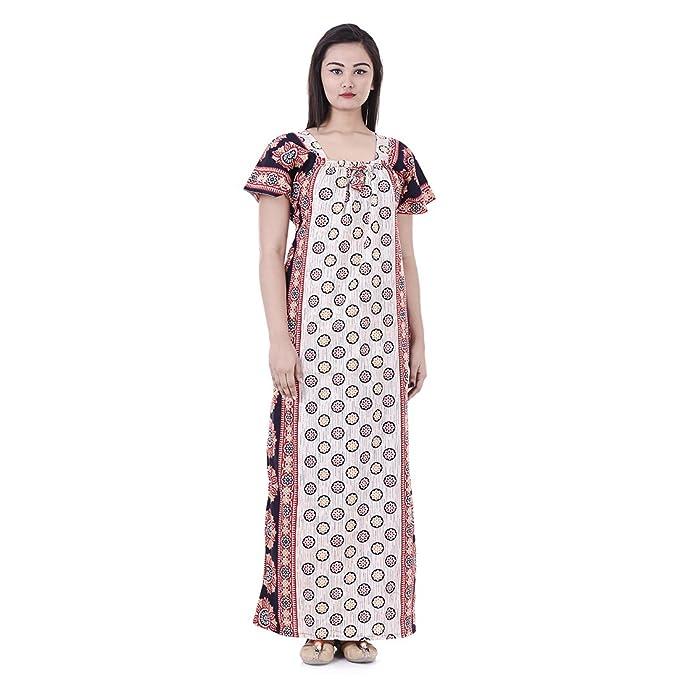 APRATIM Womens Nighty Nightwear Gown Cotton Maxi Dress Sleepwear ... 9a7a0ff5c