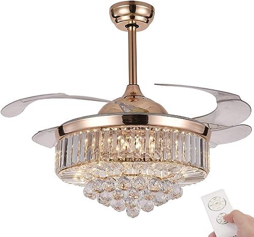 NUTCRUST Retractable Crystal Ceiling Fan