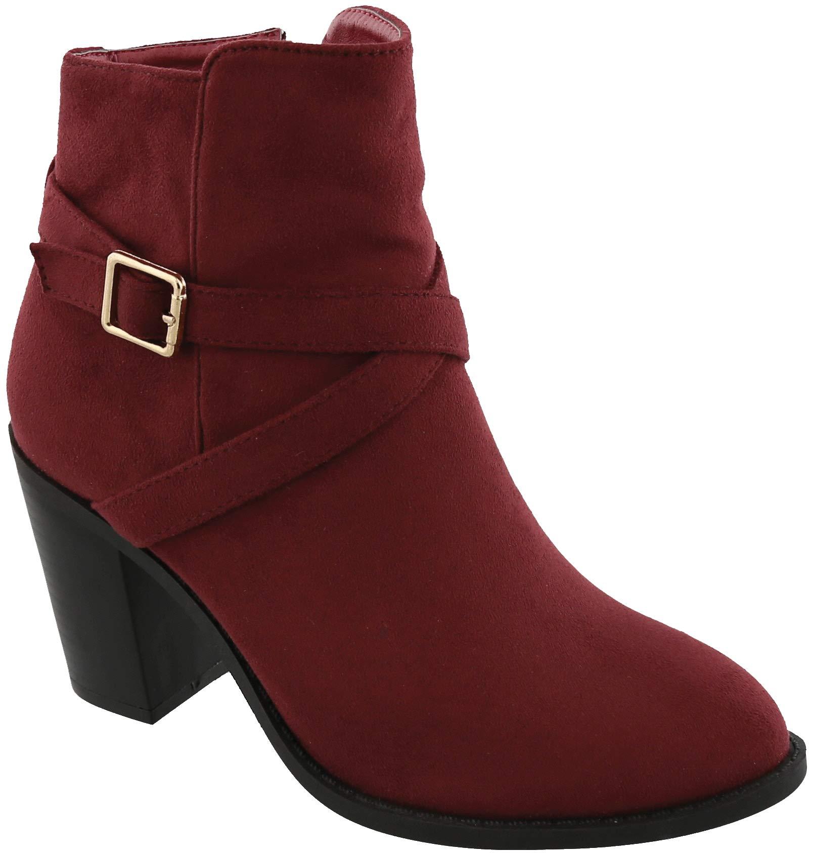MVE Shoes Womens Crisscross Buckle Side Zip High Stacked Block Heel Ankle Booties,