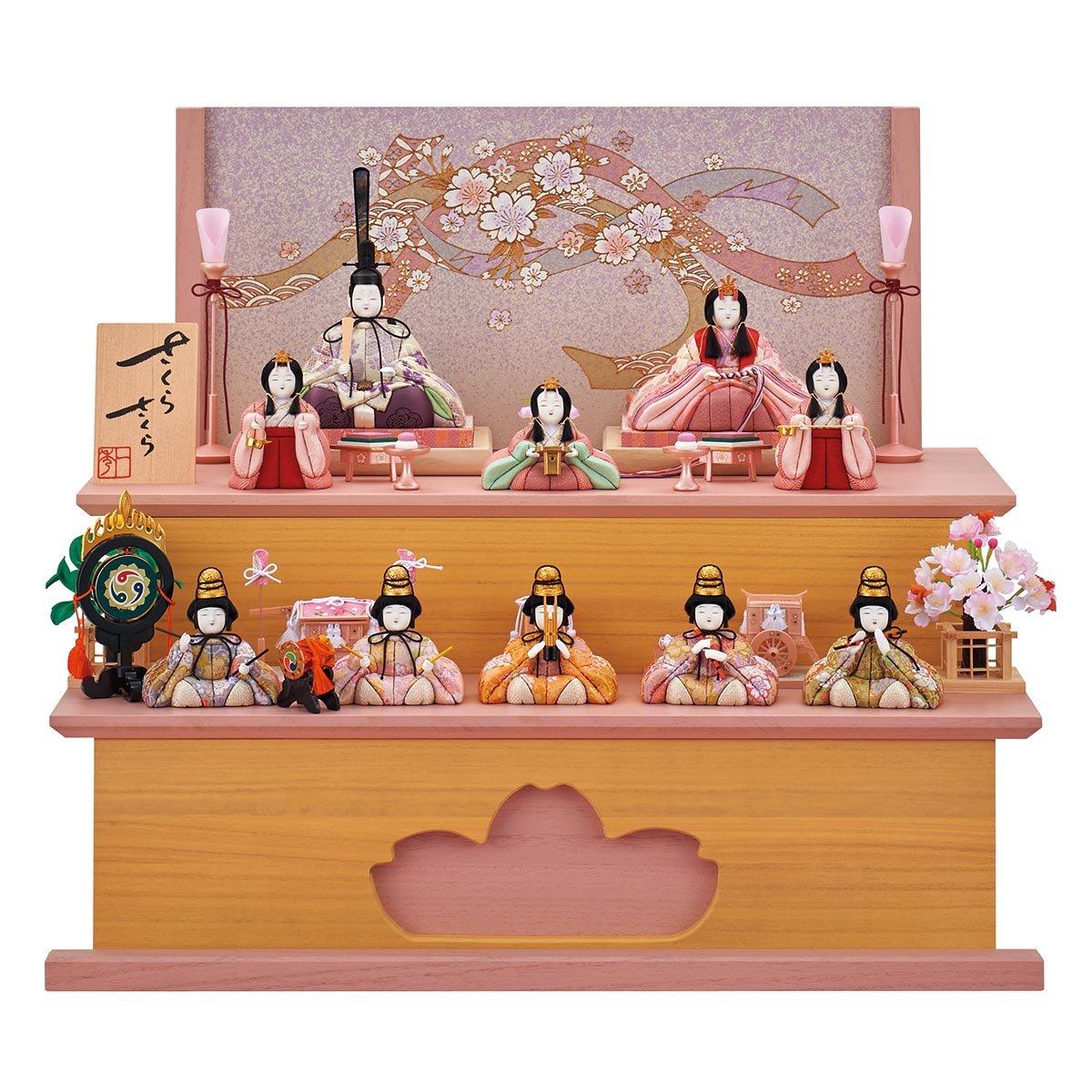 雛人形 一秀 さくらさくら 十人飾り 17号 二段桐収納セット HNIS-C-115 木目込み ひな人形 コンパクト   B078K55P41