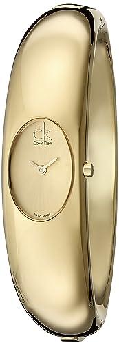 Calvin Klein Damen-Armbanduhr XS Exquisite Analog Edelstahl K1Y22209 PVD gold