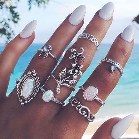 Silver Gluckliy 6 Pcs Vintage Bohemian Stacking Rings Finger Knuckle Midi Ring Set for Women Girls