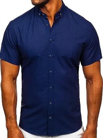 BOLF Hombre Camisa De Manga Corta Abotonada Cuello clásico Camisa de Algodón Slim Fit Estilo Casual 2B2