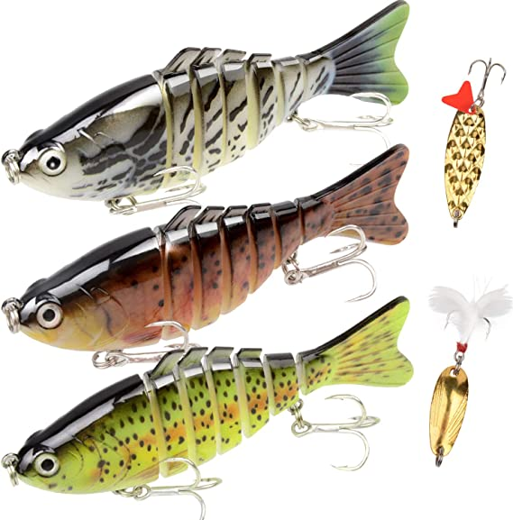 """YL OUTDOOR Fishing Lures for Bass Multi Jointed Swimbaits 7.48/"""" Slow Sinking ..."""