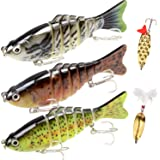 Fishing Lures Bass Lures Set,Fishing Lures for Bass Multi Jointed Swim baits Slow Sinking Hard Lure Fishing Tackle Kits…