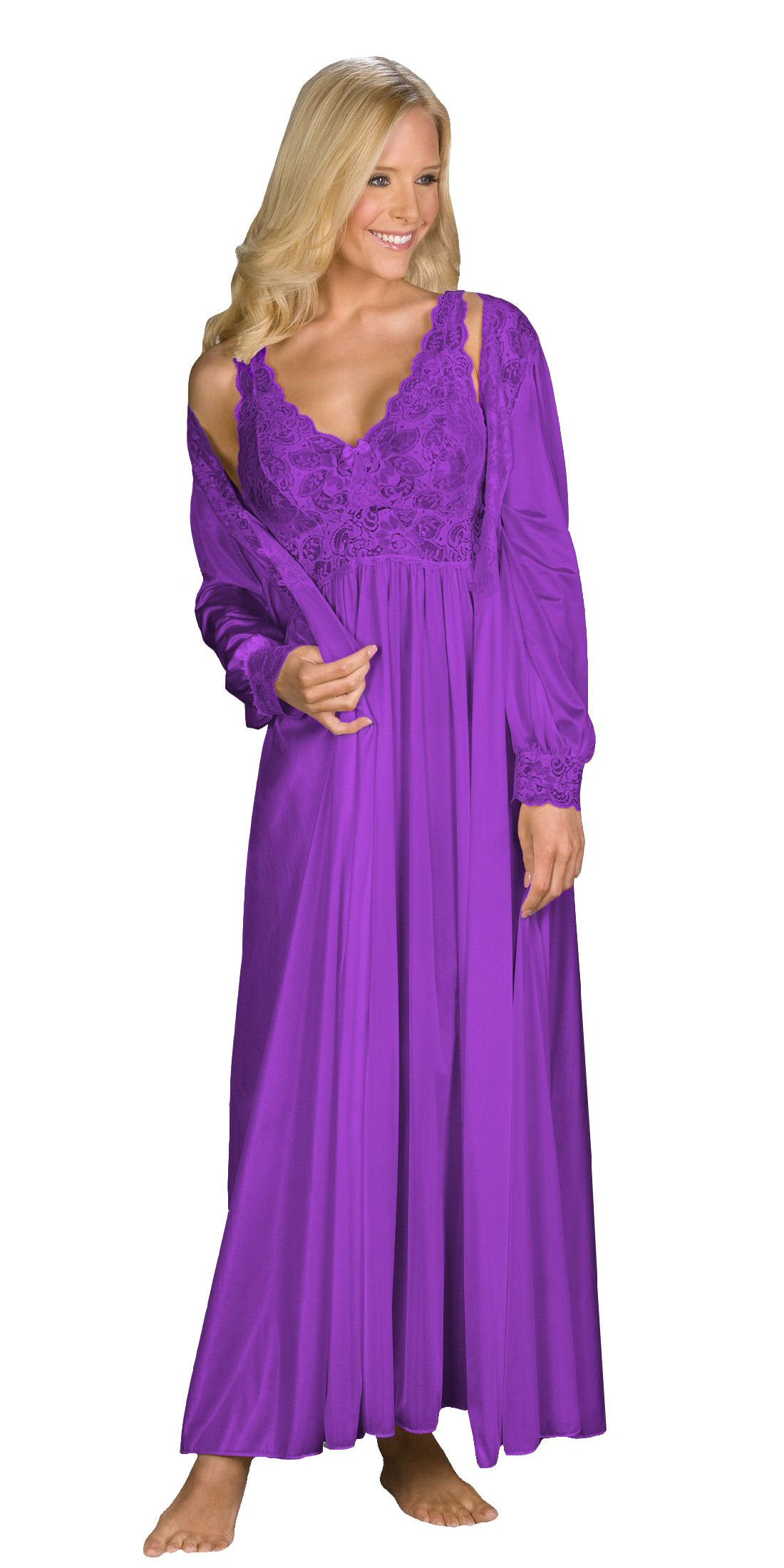 Shadowline Silhouette Gown and Peignoir Set (51737), Purple, 1X