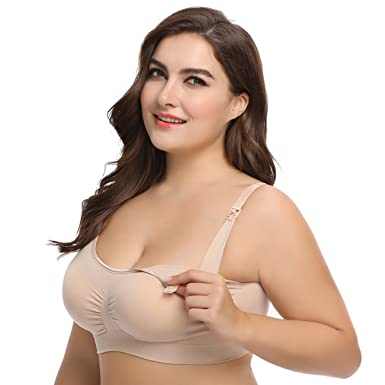 9474a75e26 LYSHION 2-Pack Nursing Bra - Full Bust Seamless Nursing Maternity  Breastfeeding Bras with High