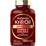 Antarctic Krill Oil 2000 mg 120 Softgels   Omega-3 EPA, DHA, with Astaxanthin Supplement Sourced from Red Krill   Maximum Str