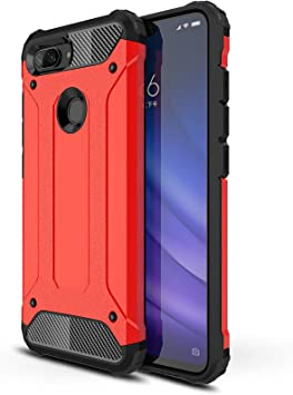 AOBOK Funda Xiaomi Mi 8 Lite, Rojo Moda Armadura Híbrida Carcasa ...