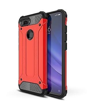 AOBOK Funda Xiaomi Mi 8 Lite, Rojo Moda Armadura Híbrida Carcasa Shock Absorción Proteccion, Anti-Scratch, Funda Case para Xiaomi Mi 8 Lite Smartphone