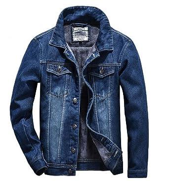 b130e1262e826 TRENDY XU Men Loose Classical Warm Jean Jacket Fleece Lined Denim Coat (M)