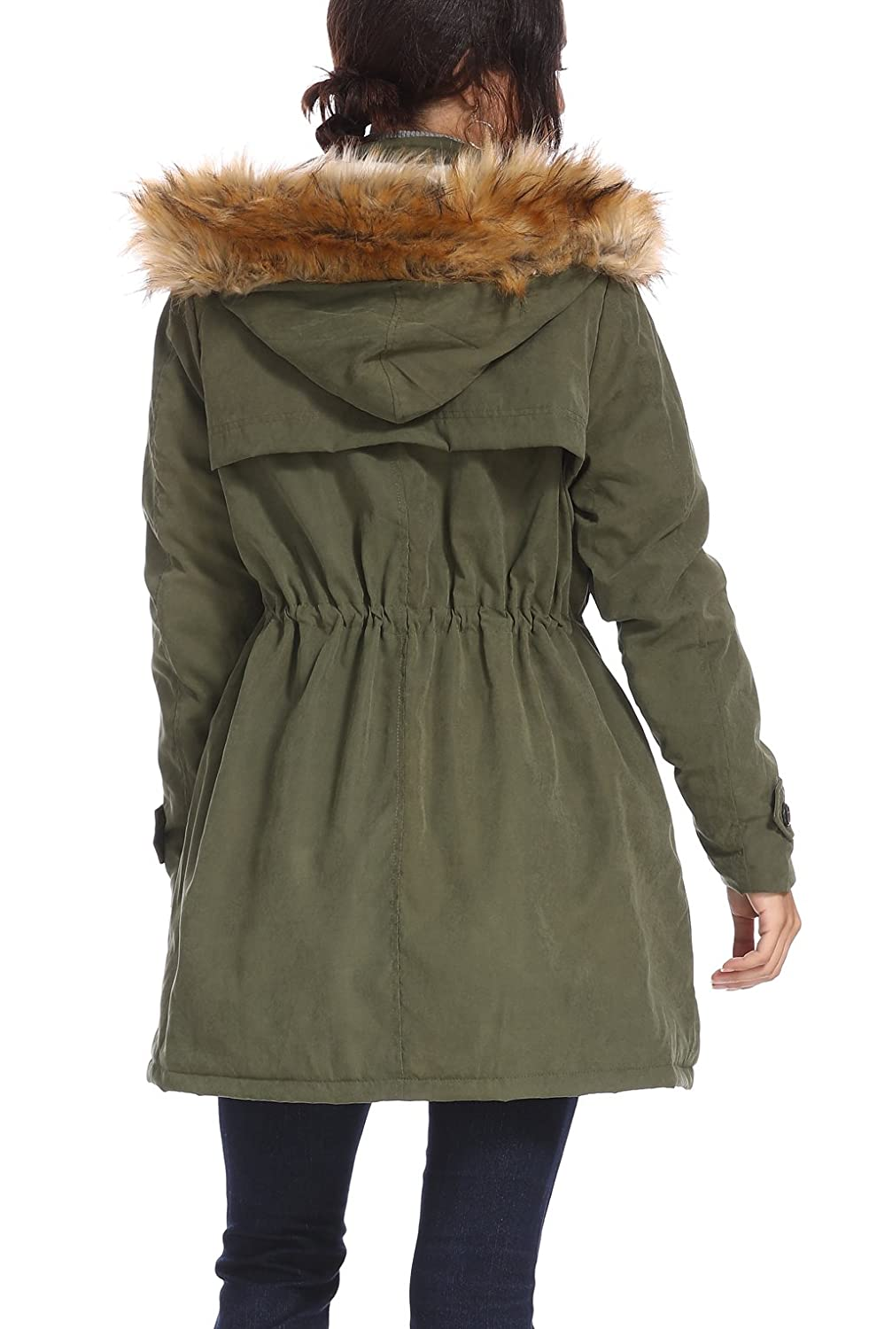 kooosin Womens Thickened Parka Coat with Removable Fur Hood Warm Coats Parkas with Faux Fur Jackets