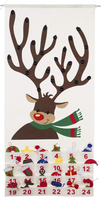 Good Ruby Reindeer Christmas Advent Calendar for Kids, Hanging Felt Countdown to Christmas Calendars with Number Pockets (Reindeer)