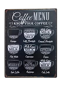 "NaCraftTH Large Tin Sign [ Coffee MENU ] Metal Iron Retro Vintage Art Cafe Bar Wall Decorative Sign Poster, 12""x15"""