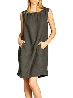 4f83b4cd0132 Made Italy Damen Leinen Minikleid Tunika mit Melange-Effekt und ...